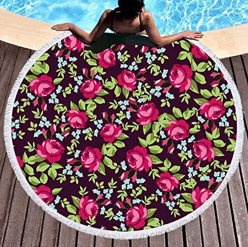 Übergroße Vintage Runde, Bedruckte Strandtuch, Mikrofaser-Strandmatte, Erwachsene Kinder Mit Seitlichen Fransen 150Cm