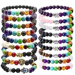 JOVIVI Schmuck,Lava-Armband Damen Herren Reiki-Energietherapie Armreif 7 Chakra Healing Buddha-Armband Multi Deisign