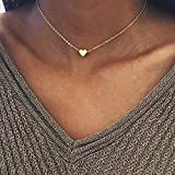 Zhuotop Damen Vergoldet Schlüsselbein Kette kurze enge Halskette golden mit Herz-Anhänger