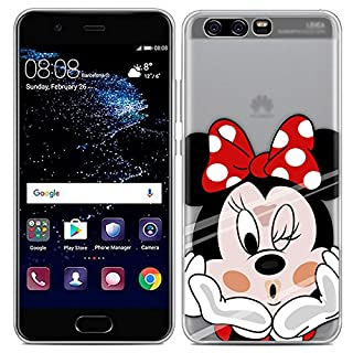Aksuo for Huawei P10 Plus Case,Women Girls boy Men Printed Transparent Clear Design Plastic Case with TPU Bumper Protective Cover,Minnie