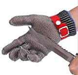 ZJYUAN Sicherheits-Stahldraht-Handschuh-Edelstahl-Säure-und Alkali-Widerstand Industrie-Hohe Temperaturbeständigkeit Schnitt-Beweis Stab-Proof Finger-Handschuhe
