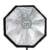 Quenox Octagon-Softbox 60 cm für entfesselte Aufsteckblitze - mit Diffusor, Wabengitter und Beauty Dish Deflektor