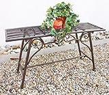Gartenbank Wetterfest ohne Rückenlehne aus Metall Braun CUCCIU-S 83 cm Bank Metallbank Sitzbank Garten Rost-Optik
