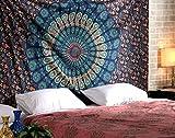 RAJRANG Arazzo Hippie Cotone Mandala Copriletto Etnico Bohemien Tappeti Arazzo da Parete Indiano Verde Tapestry By