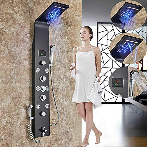 Onyzpily LED Schwarz Edelstahl Duschpaneel Duschsäule Duscharmatur Duschsystem Regendusche Kopfbrause Handbrause Armatur Duschset 8 x Massagedüsen