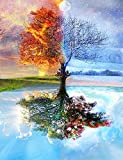 Wowdecor DIY Malen nach Zahlen Kits Geschenk für Erwachsene Kinder, Malen nach Zahlen Home Haus Dekor - Vier Jahreszeiten Baum des Lebens 40 x 50 cm Rahmen