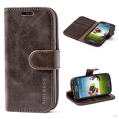 Mulbess (Vintage bookstyle) Premium Handy Schutzhülle Ledertasche im Kartenfach für Samsung Galaxy S4 Mini (4,3 Zoll) Tasche Hülle Leder Etui Schale,Vintage Braun