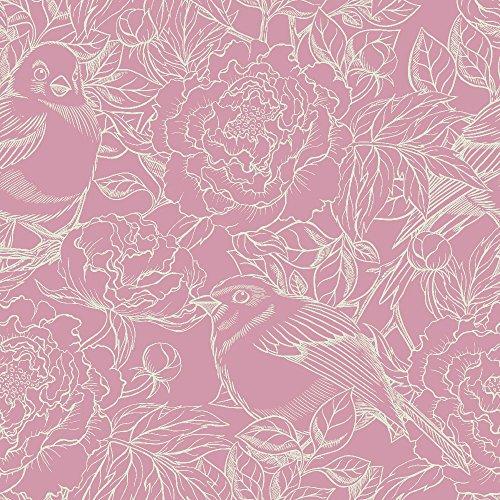 murando - Vlies Tapete - Deko Panel Fototapete - Wandtapete - Wand Deko - 10 m Tapetenrolle - Mustertapete - Wandtapete - modern design - Dekoration - Vogel Blumen b-A-0166-j-d