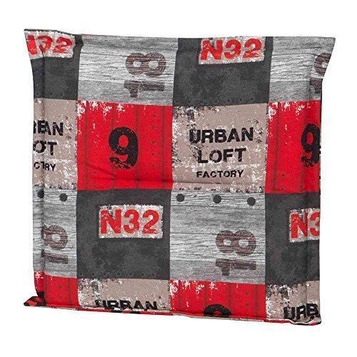 schwien Horst 5797314 Tabouret rembourré Loft Coussin pour textile Meubles 75% coton, 25% Polyester, rouge