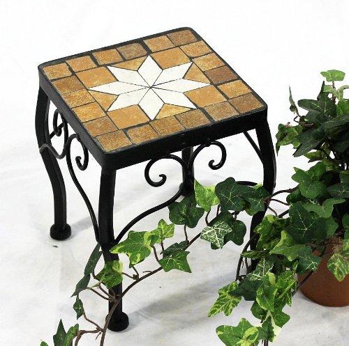 DanDiBo Blumenhocker Merano Mosaik 12015 Blumenständer 21 cm Hocker Eckig Beistelltisch