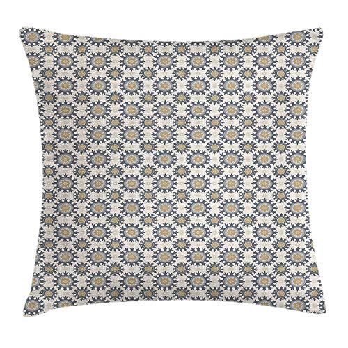 KLYDH Asian Throw Pillow Cushion Cover, Eastern Culture Influences in Abstract Floral Design Canonical Motifs Illustration, Decorative Square Accent Pillow Case, 18 X 18 inches, Multicolor