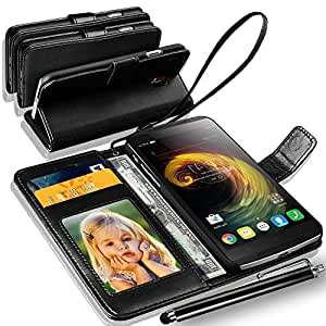 LENOVO VIBE K4 NOTE Rich Leather Stand Wallet Flip Case Cover Book Pouch / Quality Slip Pouch / Soft Phone Bag (Specially Manufactured - Premium Quality) Antique Leather Case With Touch Stylus Pen Black