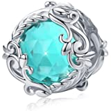 Abalorio de plata de ley con cristal azul compatible con pulseras Pandora