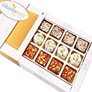 Ghasitaram Gifts Diwali Gifts Diwali Sweets - Assorted Dryfruit Sweets in White Box