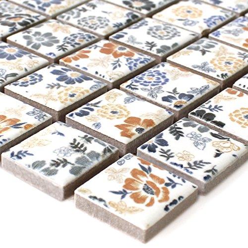 Keramik Mosaik Fliesen Weiss Flower -