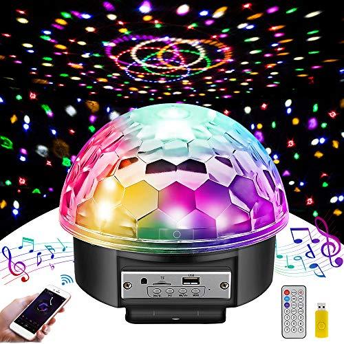 LED Discokugel MOSFiATA,Discolicht Projektor Beleuchtung für Party Wohnzimmer Feier Karaoke Geburtstag Weihnachten Deko,Disco Lichteffekt mit Fernbedienung Bluetooth Sprecher MP3 Musik Player