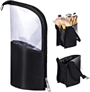 Travel Make-up Brush Cup Holder Organizer Bag, Pencil Pen Case for Desk, Clear Plastic Cosmetic Zipper Pouch, Portable Water