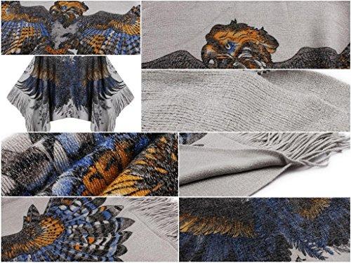 Bigood Femme Manteau Cape Bat Manches Longue Imprimé Animal Tops Avec Franges Aigle Gris
