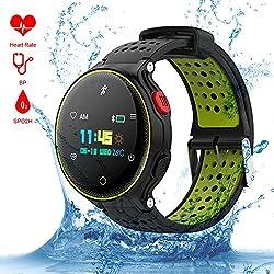 Smart Watch Qimaoo Reloj Inteligente Smart Watch Bluetooth 4.0 GPS WatchTracker IP68 impermeable de Natación Reloj Deportes Inteligentes Podómetro ,Sueño,Notificación de SMS Pulsera Actividad Inteligente para Android 4.4 e iPhone 8.0(updated version X2)