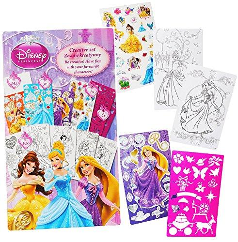 Unbekannt Malbuch / Malset -  Disney Princess - Prinzessin  mit Schablonen + Sticker / Aufkleber + Motiv Papierbögen - Malvorlagen zum Ausmalen Malspaß - für Mädchen ..