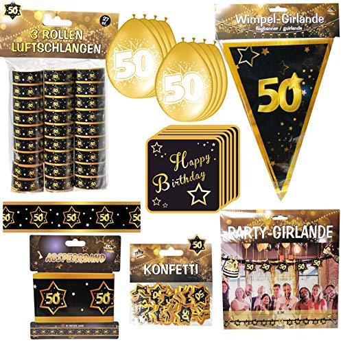 Partyset 59 Teile zum 50. Geburtstag Deko Set Schwarz/Gold Dekoration ()