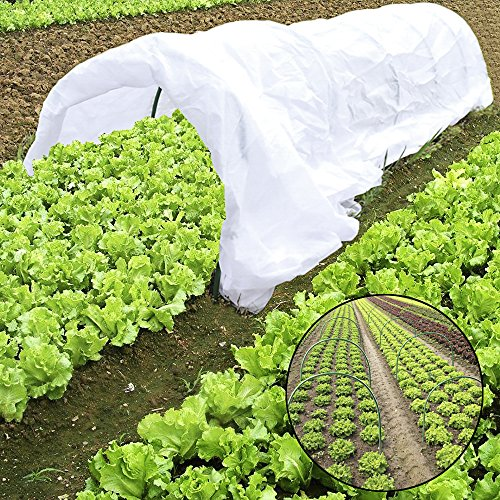 jycra - mini serra a tunnel per proteggere e coltivare piante da giardino, copertura per fila di piante da 25 ml dotata di 6 cerchi in acciaio rivestiti in plastica