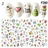 Nagellack Internet Weihnachten 3D Nail Art Sticker Schneeflocken Cute Snowmen Abziehbild (J)