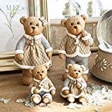 Note. Miz 4 Pieces Cute Resin Bear Family Collection Christmas Gifts for Families Christmas Decor Ornament