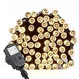 LED Lichterkette Strombetrieben, von Qedertek, 10m mit EU stecker, 100er LED Lichterketten Warmweiß für Weihnachten, Party, Hochzeit, Zimmer, Innen Deko