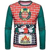 SEWORLD Weihnachten Christmas Herren Abend Party Männer Weihnachtskostüm Sankt Drucken Urlaub Humor Langarm T-Shirt Xmas Top(Rot2,EU-52/CN-XL)