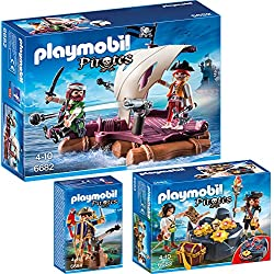 Playmobil Pirates - Playset 6682 Pirate's Raft + 6683 Treasure Hideout + 6684 Pirate Captain