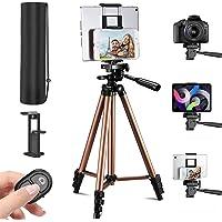 Trépied Smartphone, 3 en 1 Trépied pour Smartphone Tablette Caméra(135cm), avec Télécommande Bluetooth et Support de…