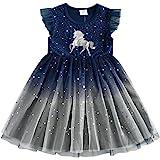 DXTON Vestidos para Niñas Vestido Patrón de Unicornio Vestido Princesa Fiesta Ropa de Niña 2-8 Años