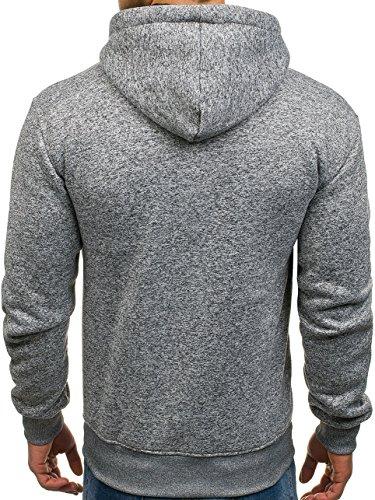 BOLF Herren Kapuzenpullover mit Reißverschluss Baumwollmischung Sweatjacke Hoodie 1A1 Grau_3558