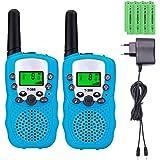 Sigdio T-388 Talkie Walkies pour Enfants PMR 446 Talkies Walkies avec Batteries rechargeable et Chargeur Talky Walky Enfants Talki Walki Flashlight VOX 8 Canaux 0,5W (1 Paire, Bleu)