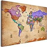 murando Quadro Mappamondo Vintage 120x80 cm 1 Pezzo Stampa su Tela in TNT XXL Immagini Moderni Murale Fotografia Grafica Decorazione da Parete Mappa del Mondo k-A-0381-b-a
