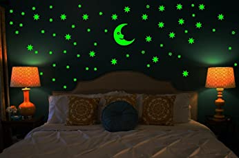 Wall Whispers Sticker Moon and 69 Star Glow in the Dark Glowing Sticker