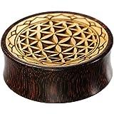 Chic-Net - Flesh tunnel in legno di tamarindone scuro e legno di coccodrillo chiaro con incisione del fiore della vita con bo