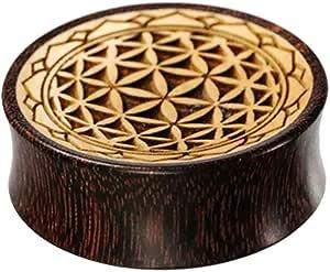Chic-Net - Flesh tunnel in legno di tamarindone scuro e legno di coccodrillo chiaro con incisione del fiore della vita con bordo dentellato, Double Flared