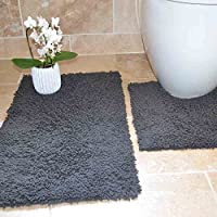 Tony's Textiles Cotton Twist Grey 100% Cotton Heavy 2 Piece Bath Mat Pedestal Set (Standard)