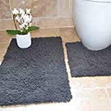 Cotton Twist Silver Grey 100% Cotton Luxury Heavy 2 Piece Bath Mat Pedestal Set (Standard)