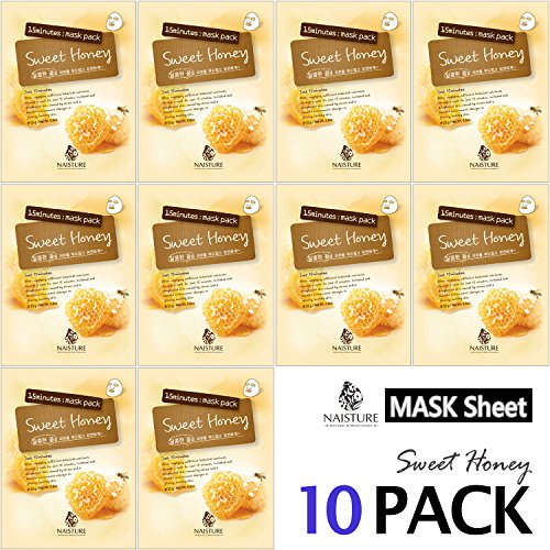 Collagen Facial Sheet Mask Pack (10 Sheets) Face Treatment [NAISTURE] Essence Face Masks - 15 Minute Application For Smooth Moisturizing Revitalizing Hydration 0.8 oz, Made in Korea - Sweet Honey -