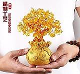 Baiyone Citrino Natural Pachira Lucky Tree Ornaments Home Furnishing Salon Decoracion Regalos Empresariales Mueble TV Shake Qian Shu,Poco De Qian Daihuang Azul