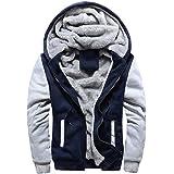 CHENMA Men Winter Warm Front Zip Jackets Hooded Fleece Hoodies Sweatshirt Wool Thick Coats