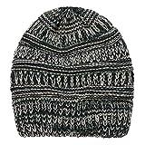 BESSKY Frauen Baggy Warm Crochet Winter Wool Knit Ski Beanie Skull Slouchy Caps Hat Color Line Garn bunt Garn Strickpferdeschwanz Kappe