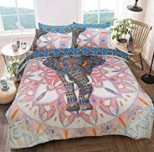 Sleepdown Elephant Mandala Pink/Blue Bed Reversable Quilt Duvet Cover Set Easy Care Anti-Allergic Soft & Smooth with Pillow Cases (Single)