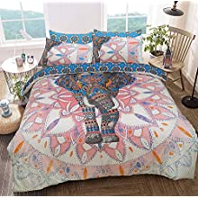 Sleepdown Elephant Mandala Pink/Blue Bed Reversable Quilt Duvet Cover Set Easy Care Anti-Allergic Soft & Smooth with Pillow Cases (King Size)