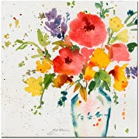Trademark Fine Art White Vase with Bright Flowers by Sheila Golden, 24x24 inches preiswert