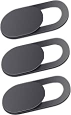 NF&E Removable & Reusable Web Camera Cover Privacy Sticker for Android PC Laptops MacBooks iOS Smartphones iPad Tablet ECT -T1 (Black) Pack of 3