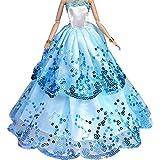 Creation® Le plus étonnant robe avec Paillettes faites pour adapter la poupée Barbie - Bleu